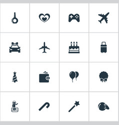 Set of simple vacation icons vector
