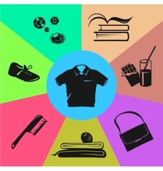 Sport wear and accessories Colored sections vector image