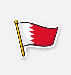 Sticker flag bahrain on flagstaff vector