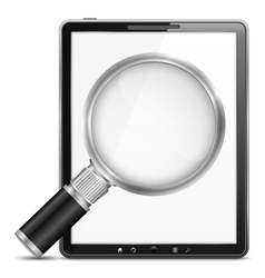 Tablet computer with magnifying glass vector image