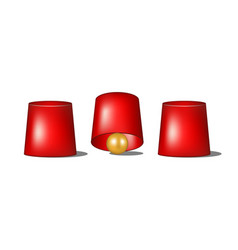 thimblerig with red cups and golden ball vector image