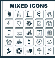 Tourism icons set collection of lamppost vector