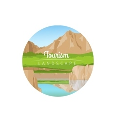Tourism landscape with mountains circle icon vector