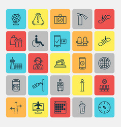 Transportation icons set collection of luggage vector