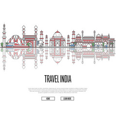 Travel tour to india poster in linear style vector