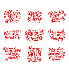 valentines day congratulation signs and lettering vector image