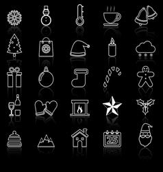 Winter line icons with reflect on black vector image