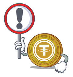 With sign tether coin character cartoon vector