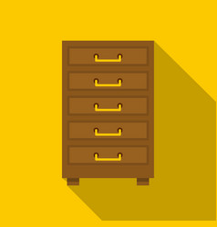 wooden cabinet with drawers icon flat style vector image