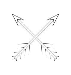 Cross arrows thin line icon vector