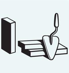 Trowel and brick wall vector image