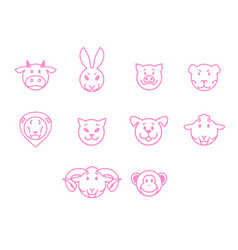 animals set pink outline simple style vector image