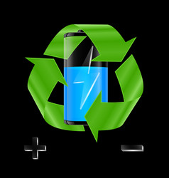 Battery with recycle sign vector