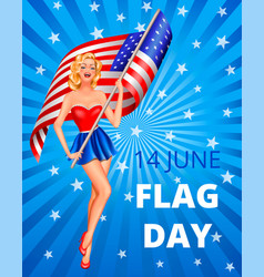 flag day and woman vector image vector image