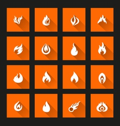 Flame icons long Shadow vector image