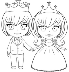 Prince and Princess Coloring Page 2 vector image