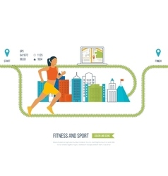 Running woman Healthy lifestyle fitness vector image vector image