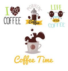 Coffee badge food design hand drawn calligraphic vector