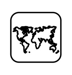 monochrome contour square with world map vector image vector image