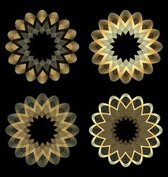 set of guilloche gold color on a black background vector image