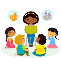story time - multicultural group vector image vector image