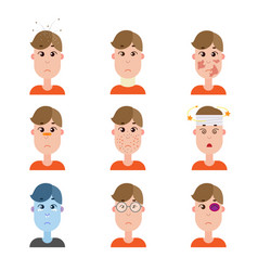 various disease avatars man face made in flat vector image
