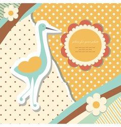 Vintage baby stork vector image vector image