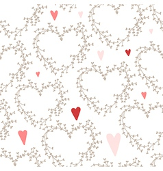 hand drawn pattern with wreaths and hearts vector image vector image