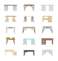 set of fifteen office desks vector image