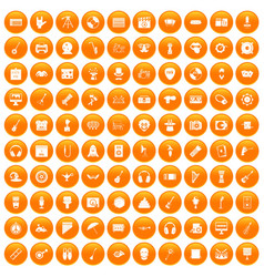 100 show business icons set orange vector