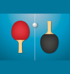 3d realistic red and black ping pong racket vector image