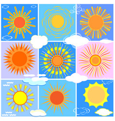 A set of suns and clouds vector