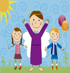 Angel with children vector