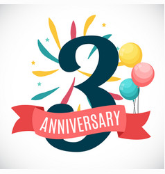anniversary 3 years template with ribbon vector image