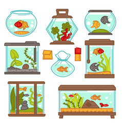 aquarium fish underwater life seaweed indoor vector image