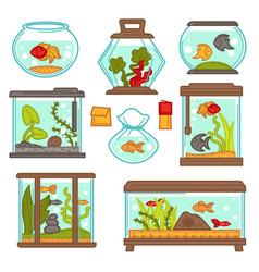Aquarium fish underwater life seaweed indoor vector