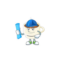 Architect character cup coffee in cartoon mascot vector