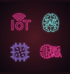 Artificial intelligence neon light icons set vector