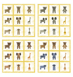 assembly flat shading style icons giraffe bull vector image