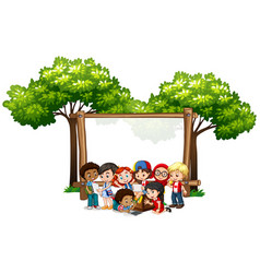 banner template design with many kids under the vector image