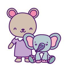 Bashower cute little bear and elephant cartoon vector