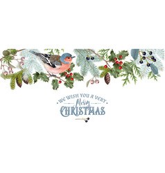 Bird christmas border vector