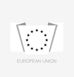 black and white version european union flag flat vector image