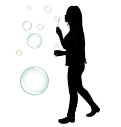 blowing bubbles silhouette vector image