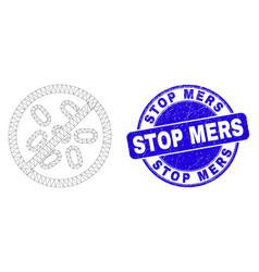 Blue grunge stop mers stamp seal and web mesh stop vector