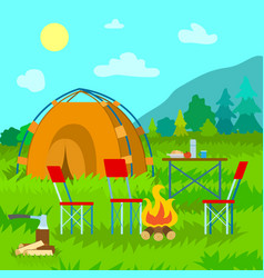 camping in mountains nature and tent with bonfire vector image