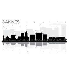 Cannes france city skyline black and white vector