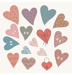 Cartoon design hearts set vector image