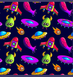 cartoon rockets and aliens seamless pattern vector image