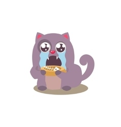 Cat Finished Its Food vector